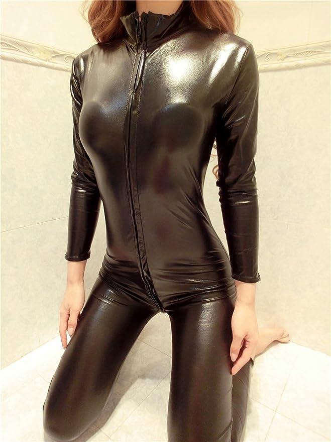 XSQR Sexy Mujer Latex Negro PVC con Enterizo Ajustado Wet Look Bodysuit con  Cremallera Catsuit  Amazon.es  Deportes y aire libre f4d973edf36d
