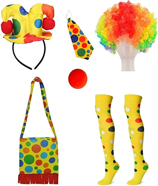 Rainbow Clown Socks Costume Accessory Adult Halloween
