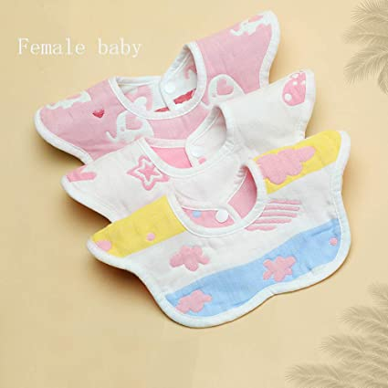 Toalla de Saliva bebé 360 Grados Giratorio Barril de arroz Absorbente recién Nacido bebé Babero Babero