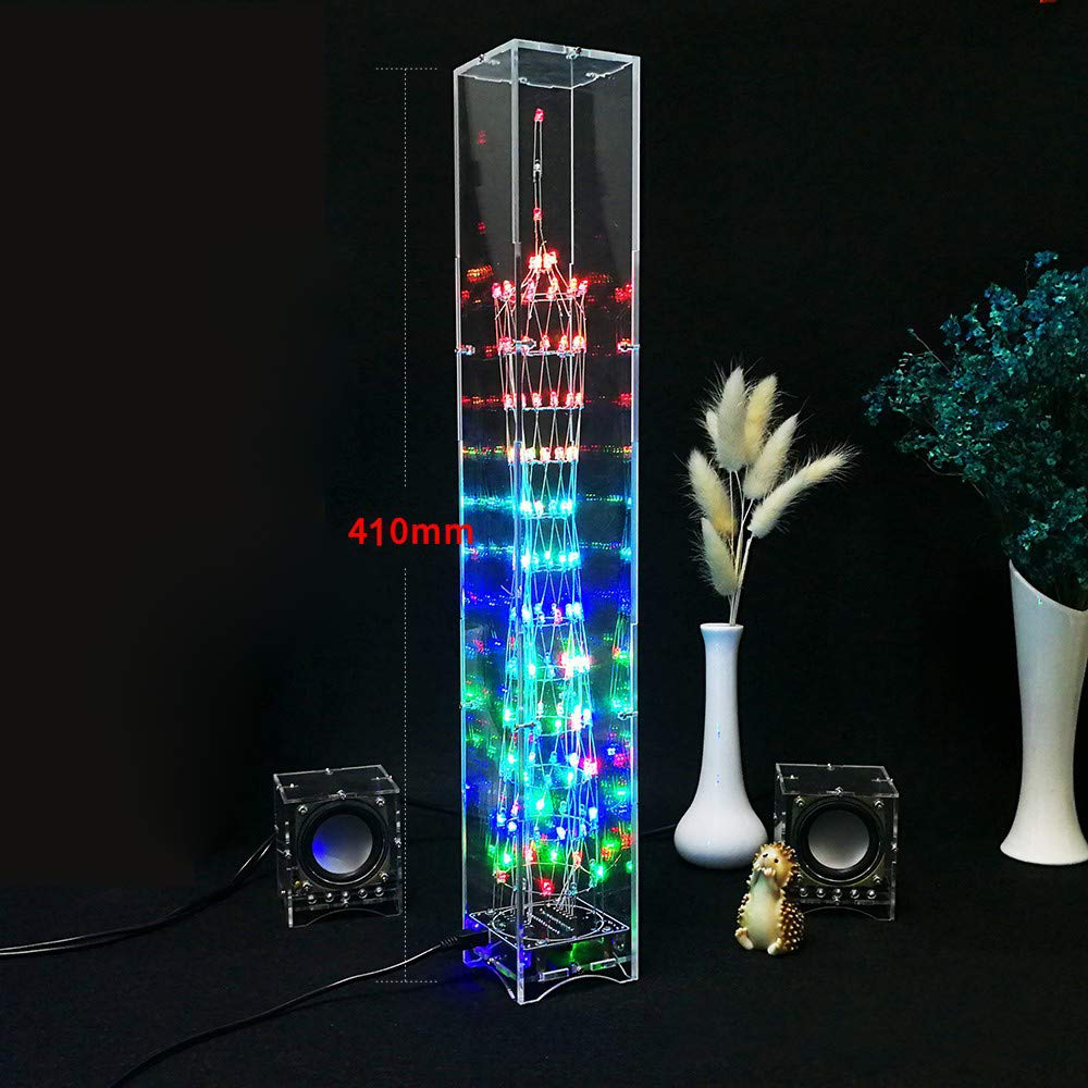 REFURBISHHOUSE/DIY LED-Licht Wuerfel Canton Tower Suite drahtlose Fernbedienung elektronische Kit Musik Spektrum Loeten Kits DIY Gehirn-Training Spielzeug