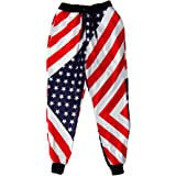 Men Stylish Loose Casual Trousers 3D Printing Star Stripe Pattern Hip Hop Plus Size Comfortable Sweatpants
