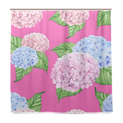 Shower Curtain Bathroom Pink Blue Flowers Curtains Fabric Waterproof Bath Home Decor 72quot