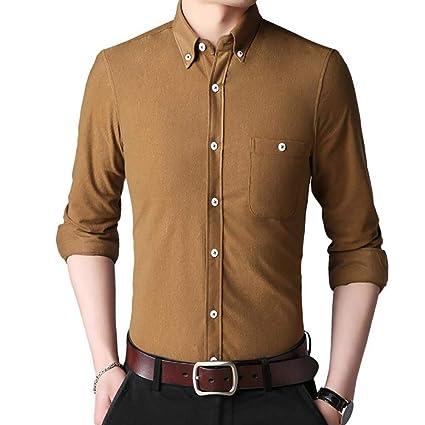 Mens Plain Pocket Button Collar Long Sleeve Corduroy Velvet Casual Outdoor Shirt