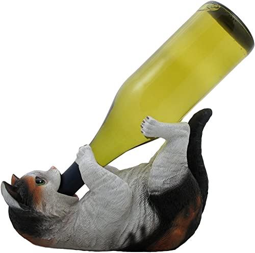 Drinking Calico Kitty Cat Wine Bottle Holder Sculpture