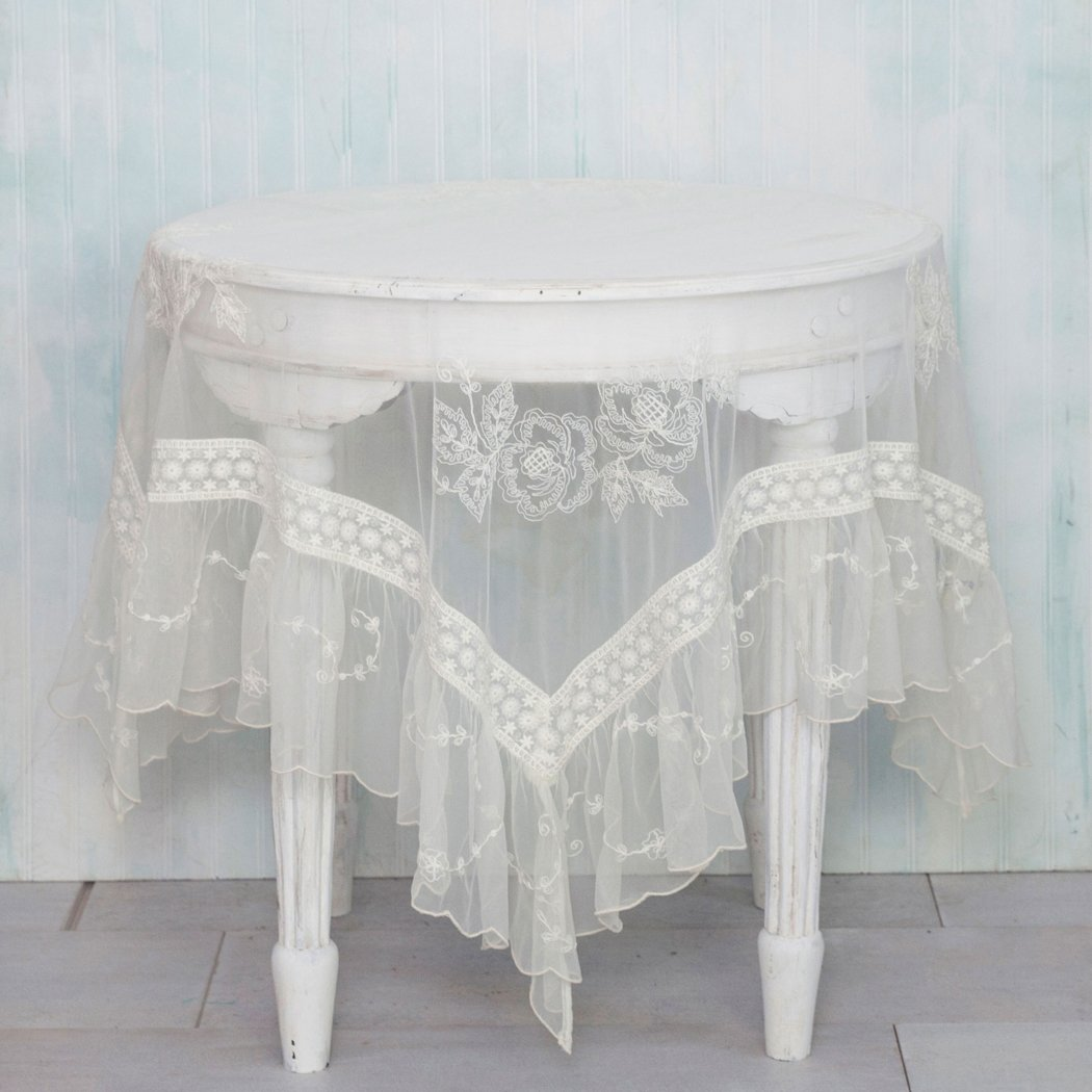 April Cornell Ecru Angelic Embroidered Topper Cloth - 54 by 54 inch