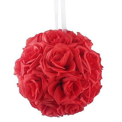 Amazon.com: AerWo Red Rose Flower Ball Artificial Pomander Bouquet 7 ...