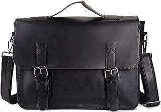 WHWH Men'S Crazy Horse Skin Handbag Retro Shoulder Messenger Bag Casual Business Bag Ipad Bag Phone Bag Travel Vacation,Brown-OneSize