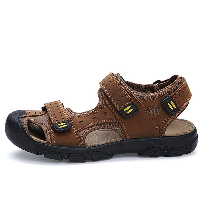Meijili Men's Leather Sandals Beach Shoes Casual Summer Outdoor Sports Sandals Brown UK 8 XHB6Vlx