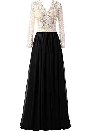2240be9bf70 MEILISAY Meilishuo Women s V-Neck Lace Prom Dress Pearl Beaded Chiffon Evening  Formal Dress with