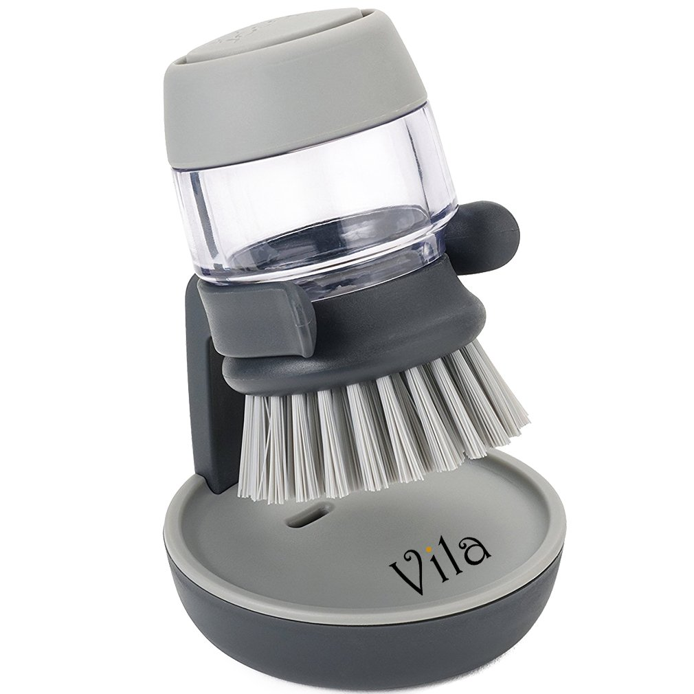 Soap Dispensing Palm Brush by Vila – Tough on Scrubbing Grease Away - Keeps Your Kitchen Counter Tidy - Makes Dishwashing an Enjoyable, Relaxing Chore - Comfortable & Stress-Free dishwashing