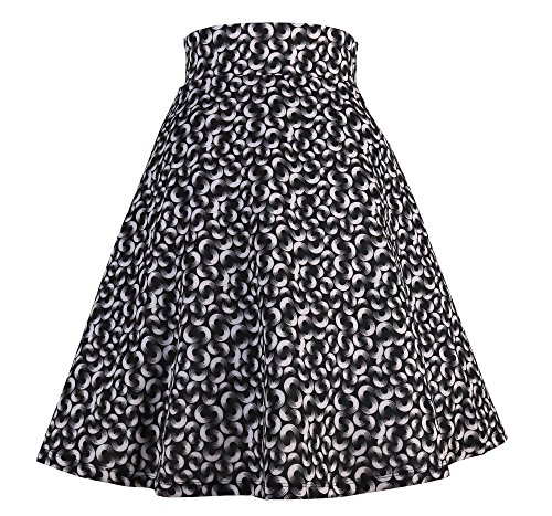 Modeway Women's Floral Flared Casual Pleated Skater Skirt (L, Flower 2) ()