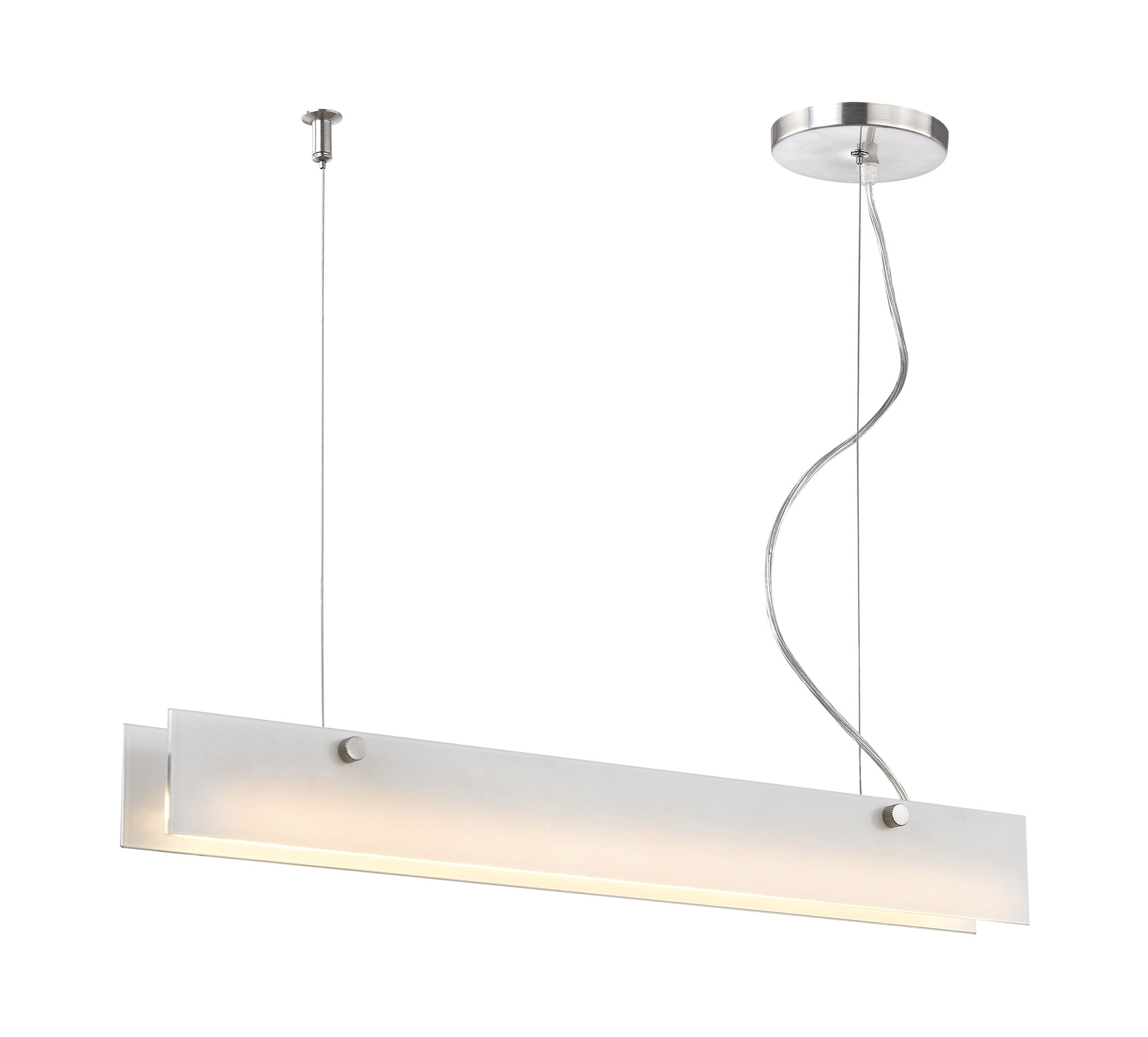 Elk Lighting LC4020-10-98 Iris 10W LED Linear Suspension Pendant and Frosted White Glass, Aluminum