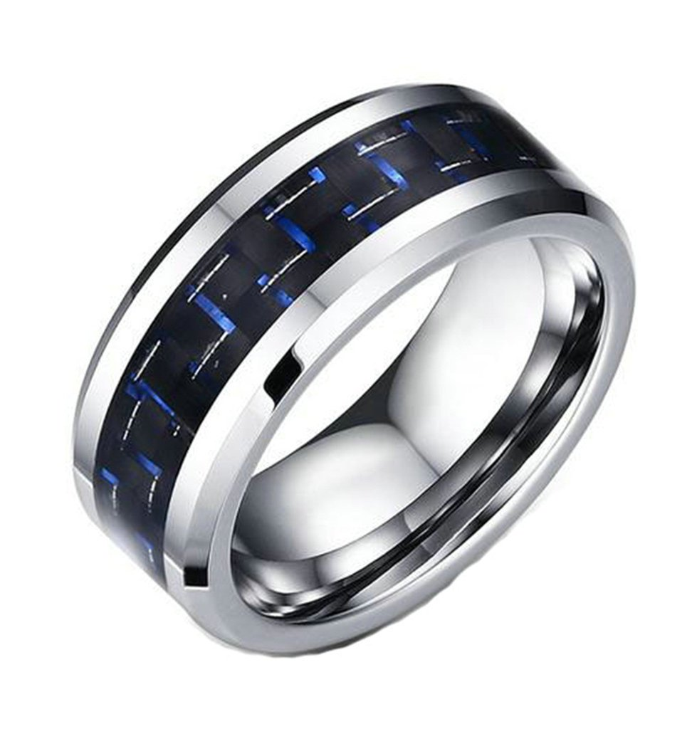Epinki 8MM Tungsten Ring Men's Wedding Band Silver Black and Blue Comfort Fit Size 12