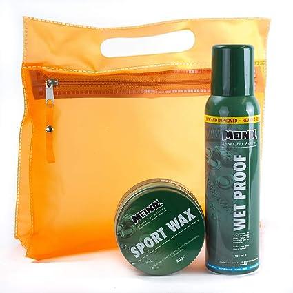 Meindl Sportwax XXL Doppelpack Sportwax + Wet Proof Imprägnierer Lederpflege Schuhpflege für alle Lederschuhe + KULTURBEUTEL