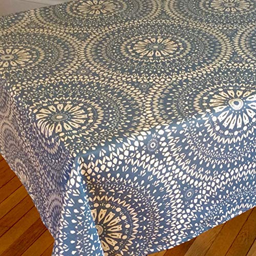 "Amelie Michel Wipe-Clean French Tablecloth in Arabik Blue | Authentic French Acrylic-Coated 100% Cotton Fabric | Easy Care, Spill Proof [60"" x 96"" Rectangle]"