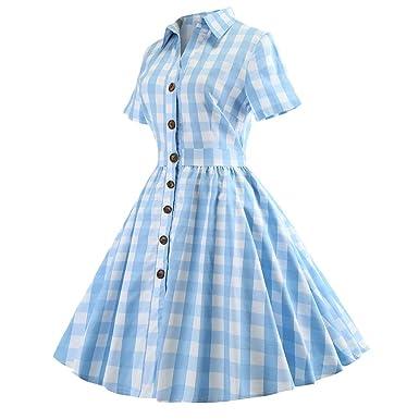 Botrong Dress for Women, Fashion Short Sleeve Vintage Dress Plaid ...