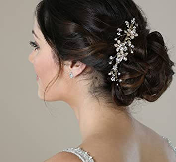 f65d79c818bf Amazon.com   SWEETV Wedding Hair Comb Silver - Pearl Flower Bridal Clip  Rhinestone Hair Accessories for Bride