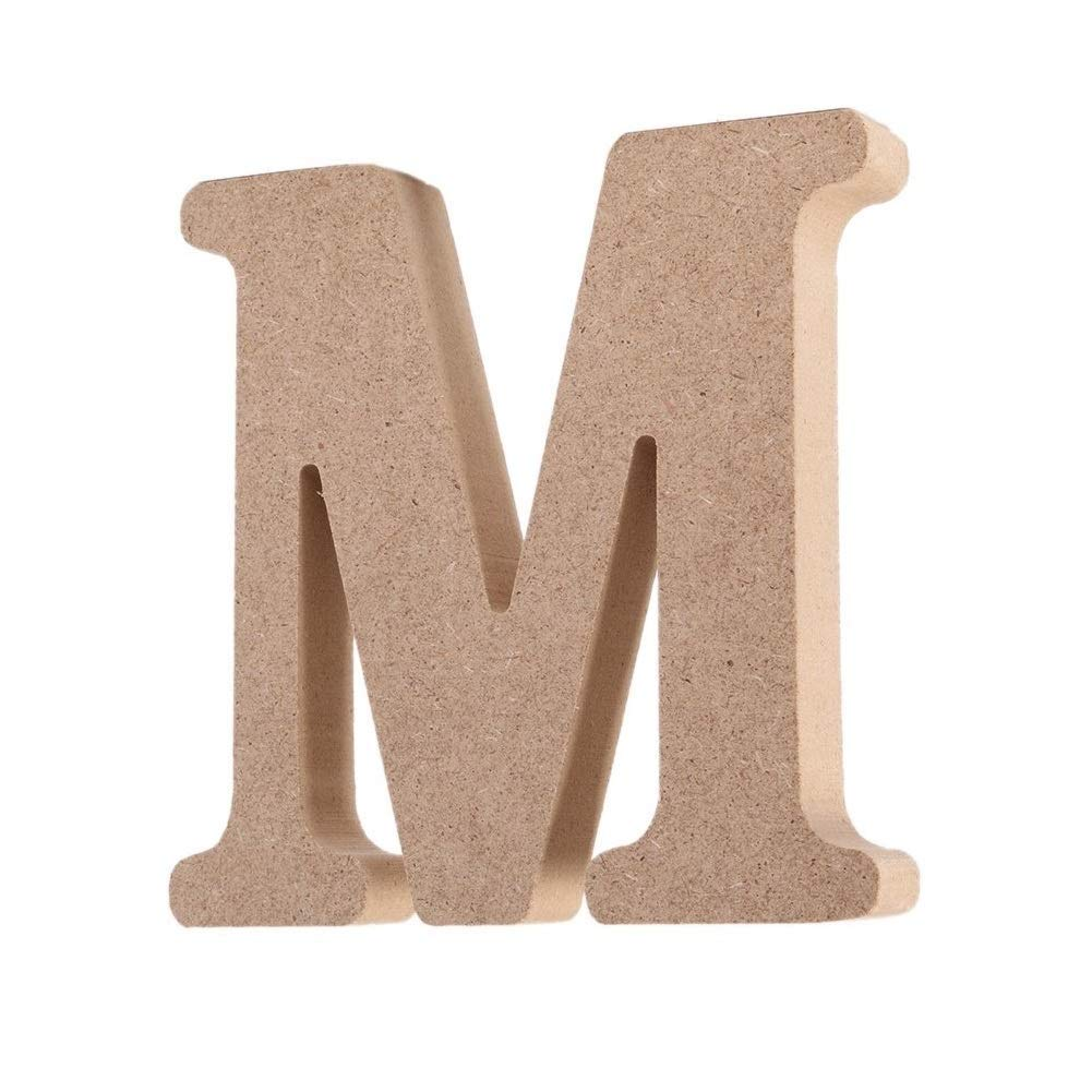 Andision Decorative Wood Letters, Hanging Wall 26 Letters Wooden Alphabet Wall Letter for Baby Name Girls Bedroom Wedding Brithday Party (Letter M)