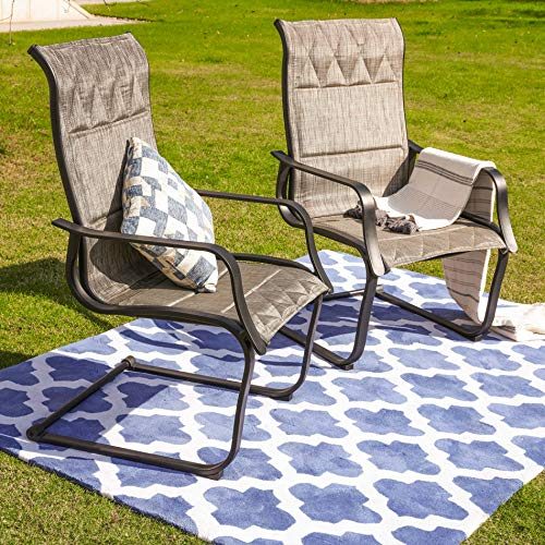 Top Space Patio Spring Chair,Outdoor Porch Sling Dinning Chair Furniture Set of 2 with Arms,Grey