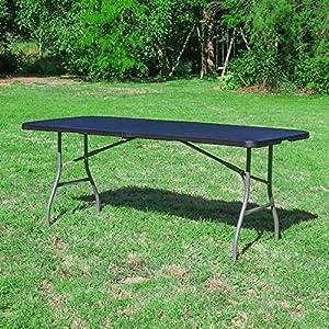 Table Pliante 180 cm d'Appoint Rectangulaire Noire – Table de Camping 8 personnes L180 x l74 x H74cm en HDPE Haute…