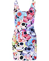 Neon Nation Multi Color Skull Print Bodycon Tube Dress