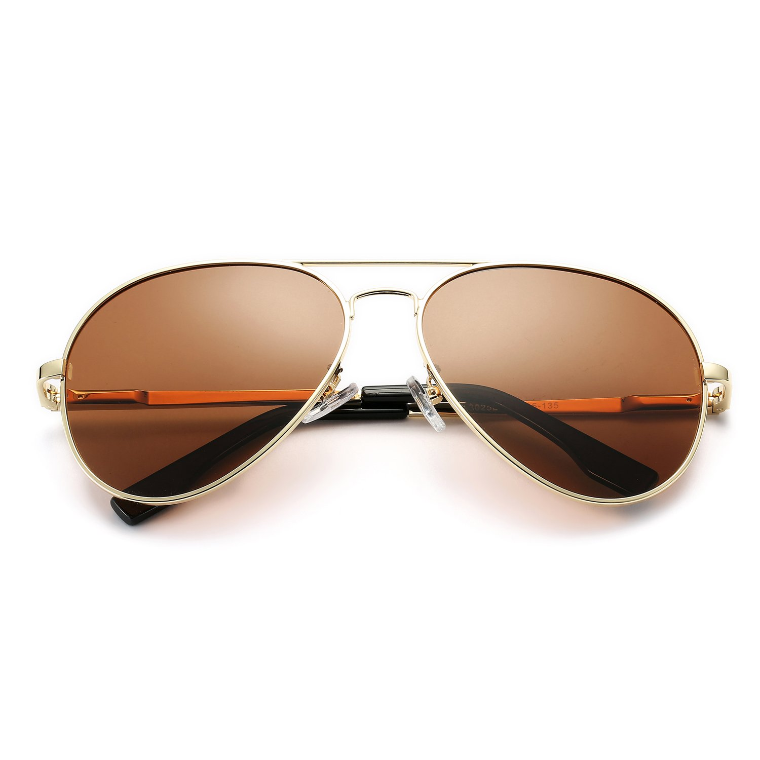 Pro Acme Oversized Aviator Sunglasses for Men Women Polarized Mirrored Lens - UV 400 with Case (Gold/Brown) by Pro Acme