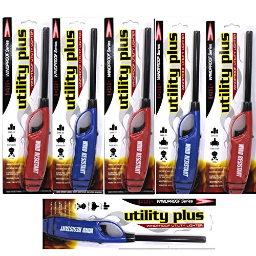 Elite Brands USA Windproof Multipurpose Long Neck Lighters, Ideal for Camping Hiking BBQ Grilling Fireplace Outdoor, Utility Lighters, Value Pack of 6
