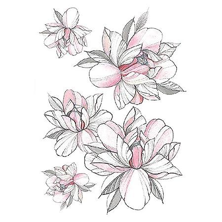 3 unids Moda Tatuaje Femenino Pegatina Negro Rosa diseño Flor ...