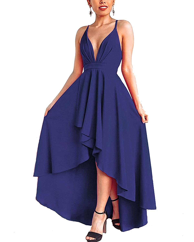 TALLA M. Abravo Mujer Vestidos Fiesta Sin Manga para Ceremonia Coctel Partido Largos Irregular Maxi Vestido Elegantes de Noche Azul