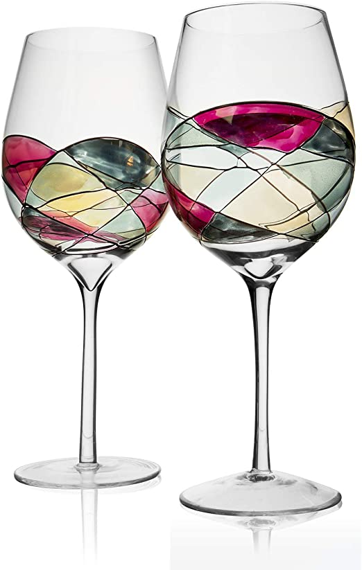 Unique Hand Painted Gifts for Women ANTONI BARCELONA Large Wine Glass Men,