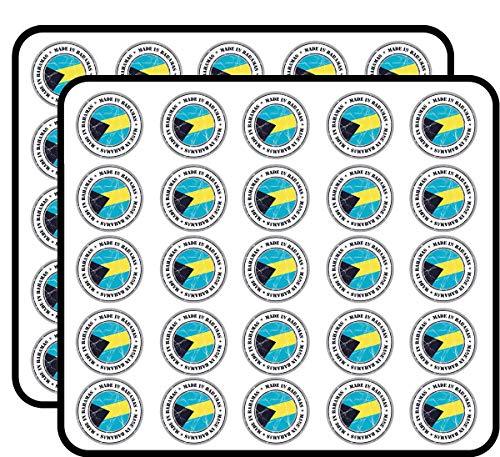 Made in Bahamas Grunge Flag Stamp Art Decor Sticker for Scrapbooking, Calendars, Arts, Kids DIY Crafts, Album, Bullet Journals 50 Pack