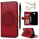 Galaxy J7 Prime Case,Galaxy On7 Case - Wallet Case 3D Embossed Mandala Flower PU Leather Folio Stand Shockproof TPU Bumper Slim-Fit Protective Card Slots Hand Strap Cover by Badalink - Red