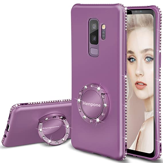 new style a75ba eeb21 Galaxy S9 Plus Case, Glitter Girly Purple S9+ Phone Cover with Kickstand  Finger Ring Stand Protective Luxury Diamond Sparkle Bling Samsung Galaxy S9  ...