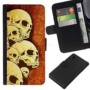 Planetar® Modelo colorido cuero carpeta tirón caso cubierta piel Holster Funda protección Para Sony Xperia Z1 L39 ( Skulls Arte Esqueleto Guerra Muerte Anatomía Cabeza )