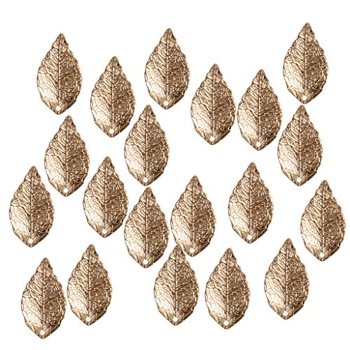 Gold Leaf Charm Pendant (MagiDeal 20 Pieces Antique Alloy Leaf Leaves Charms Pendant Finding for DIY Jewelry Necklace - Gold)