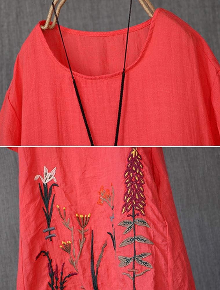 Mallimoda Donna Vestiti Estivi Girocollo Casual Vintage Ricamato Vestito Dress
