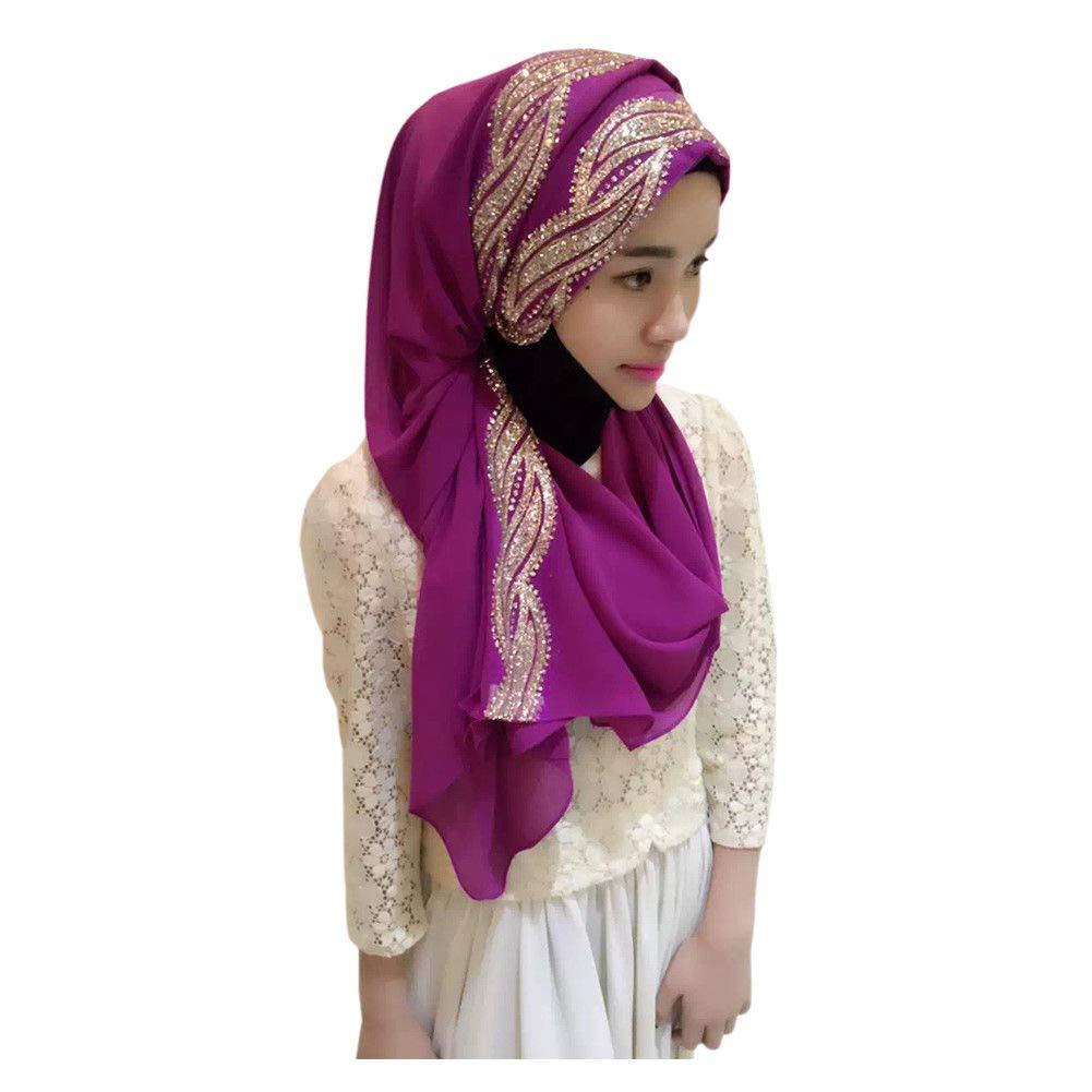 Hzjundasi Femme Musulmane Hijab Islamique Foulard Voil/ées /Écharpe Turban Ch/âles De Ramadan Couvre-Chef Avec /élasticit/é Compl/ète
