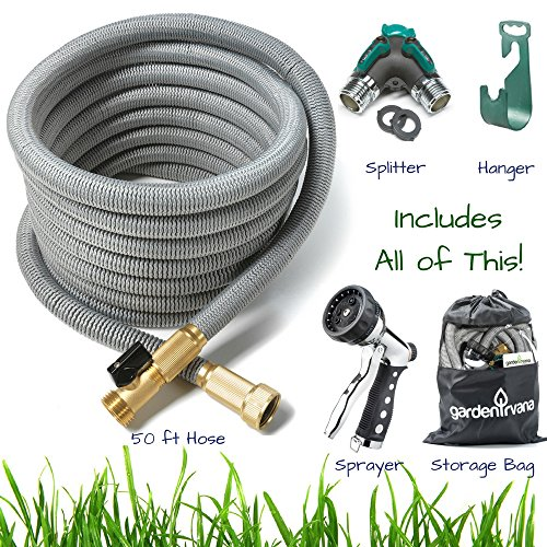 50 ft Expandable Garden, Car Wash, RV Pocket Shrinking Water Hose. Strongest TRIPLE Core Latex expanding and collapsing tech w/ Brass Connectors. Includes hanger, spray nozzle, splitter & storage bag