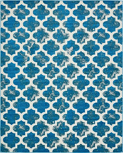 (Unique Loom Outdoor Trellis Collection Vintage Geometric Transitional Indoor and Outdoor Flatweave Turquoise  Area Rug (8' 0 x 10' 0))