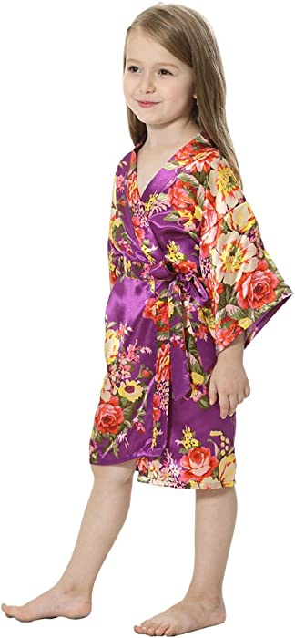 746b9ed1815 ... JOYTTON Girl s Satin Floral Kimono Flower Girl Getting Ready Robe For  Wedding ...