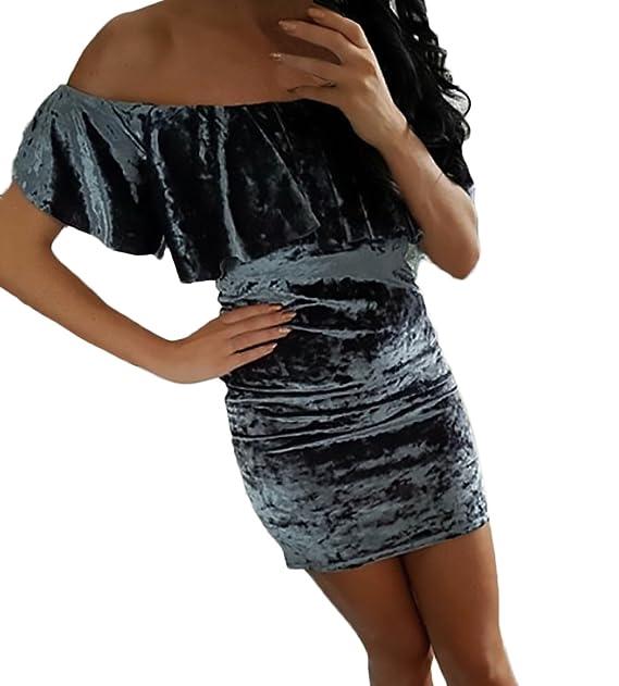 HaiDean Vestidos De Fiesta Cortos Elegantes Vintage Terciopelo Vestidos Ajustados Hombros Descubiertos Barco Cuello Modernas Casual