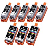 HI-VISION Compatible PGI-35+CLI-36 Pigment Compatible (5-PACK)Black & (3-PACK)Tri Color Ink Cartridge Replacement for Pixma iP100