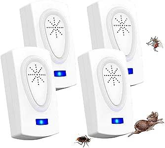 ZHENROG Repelente Ultrasónico, 2020 Nuevo Plagas Control Interiores, Insectos Antimosquitos Eléctrico Extra Fuerte para Interiores - Insectos, Hormigas, Cucarachas, Ratones, Ratas, Roedores (4-Pack)