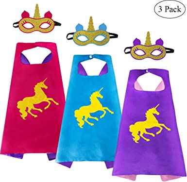iROLEWIN Capas y máscaras de Unicornio superhéroe para niñas para ...