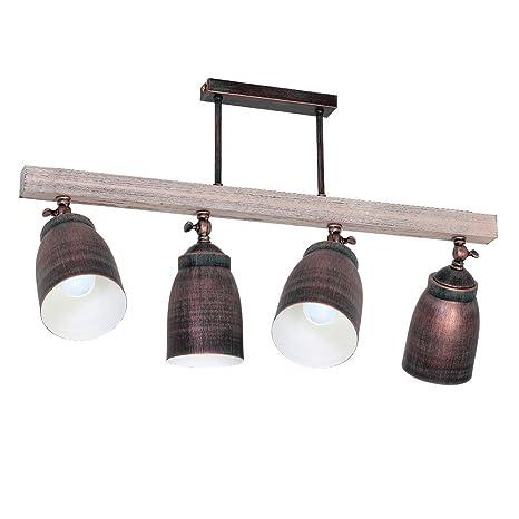 Plafón Alejo - 4 focos, lámpara de techo estilo rústico ...