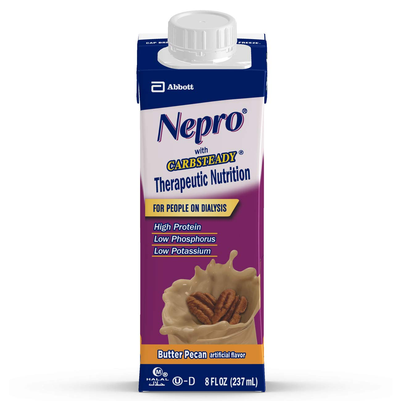 Nepro Therapeutic Nutrition Shake with 19 grams of protein, Nutrition for people on Dialysis, Butter Pecan, 8 fl ounces, (Pack of 24)