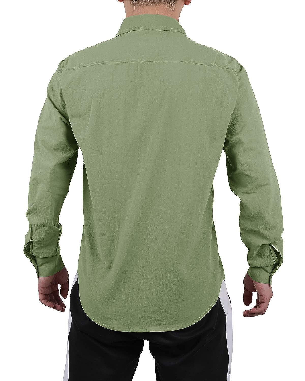 Mens Casual Cuban Camp Guayabera Linen Shirts Long Sleeve Button Down Loose Fit Swag Curved Hem Shirt