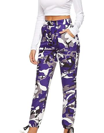 ae062ee1597a Women Camo Trouser Jogger Pants Plus Size Casual Cargo Hip Hop Rock Trousers