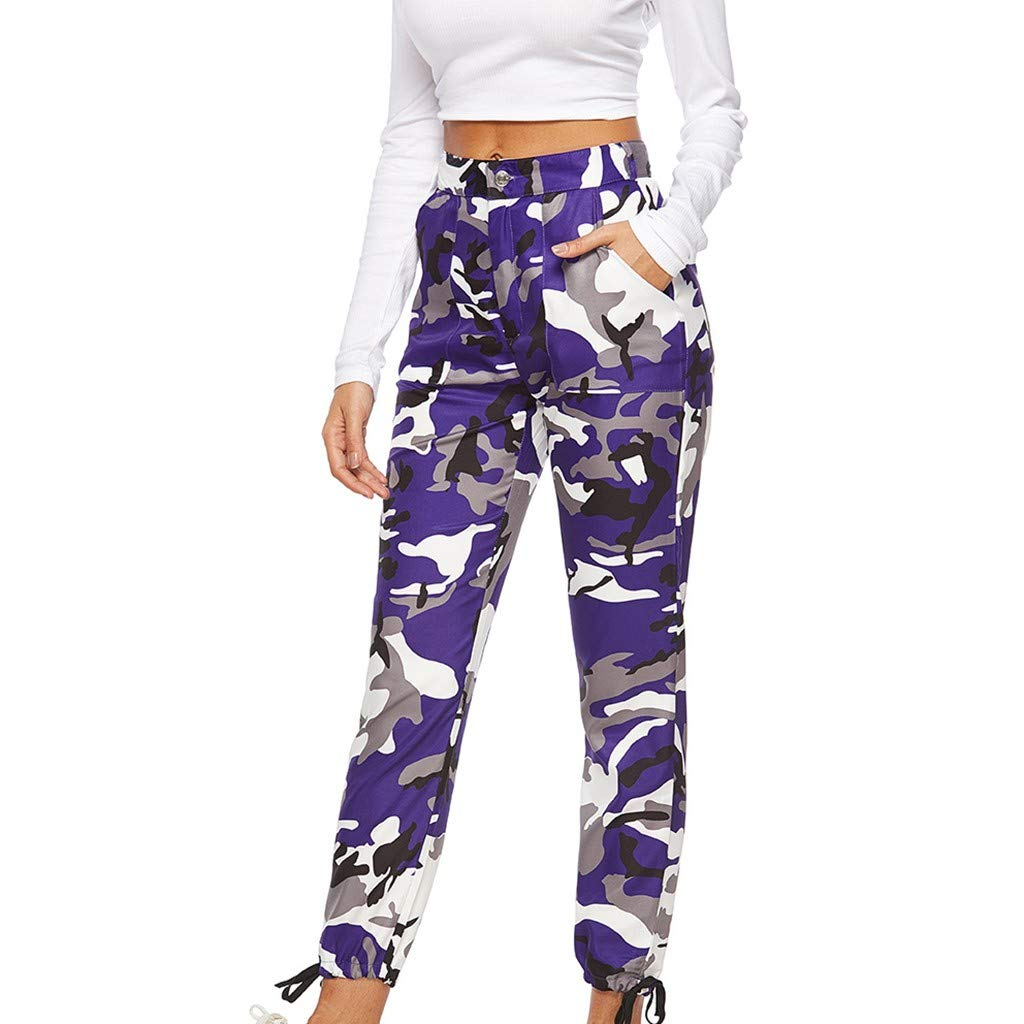 Pervobs Women's Casual Fashion Camouflage Sweatpants High Waist Sports Camouflage Pencil Trousers Pants(XL, Purple) by Pervobs Women Pants (Image #1)