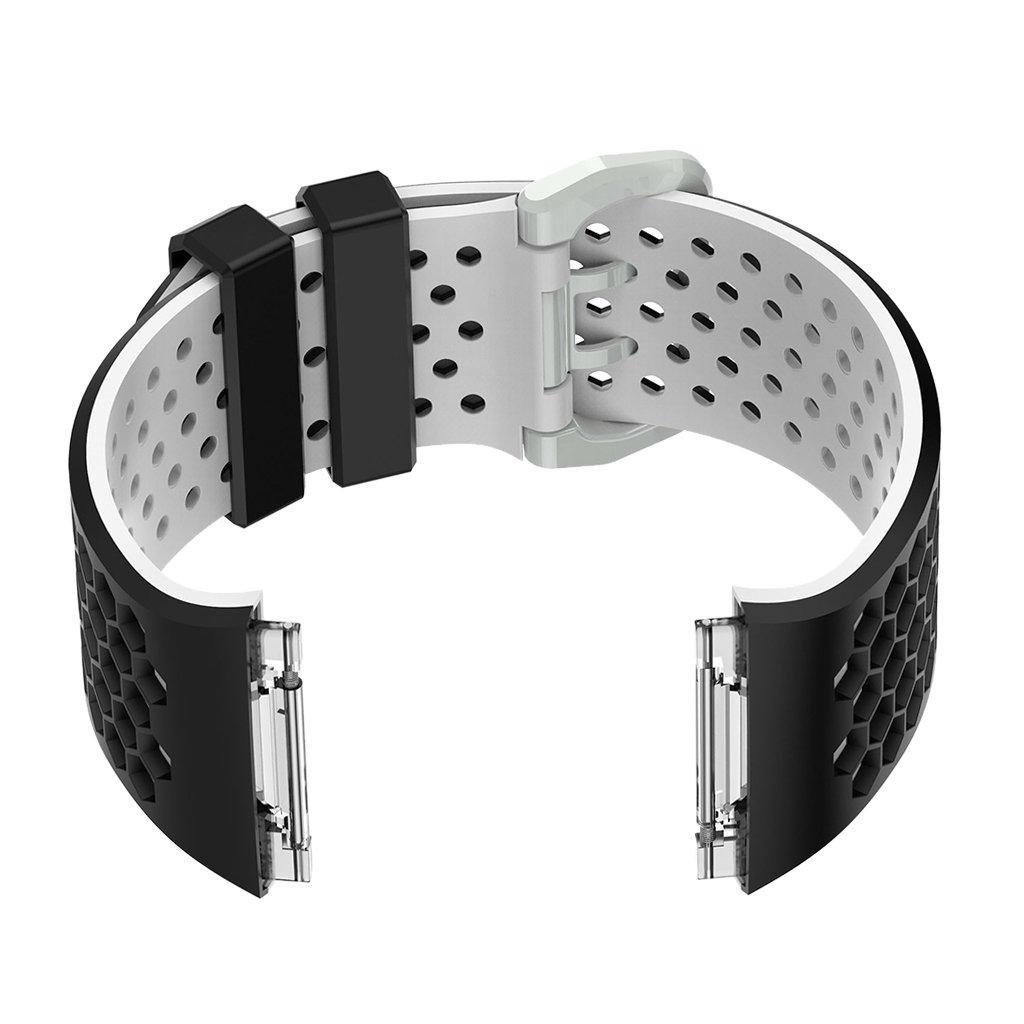 fityle for Fitbit Ionicバンド、2ピースPerforated交換用ストラップ通気性アクセサリーリストバンド留め金バックル付きfor Fitbit Ionic Smart Watch Samll B07B73M6KSブラック-ホワイト